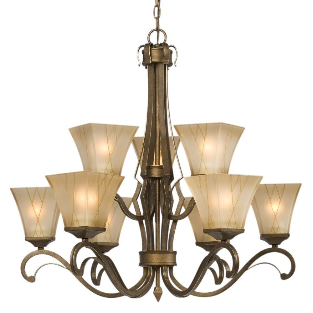 Filament Design Negron 9-Light Olde World Gold Incandescent Chandelier