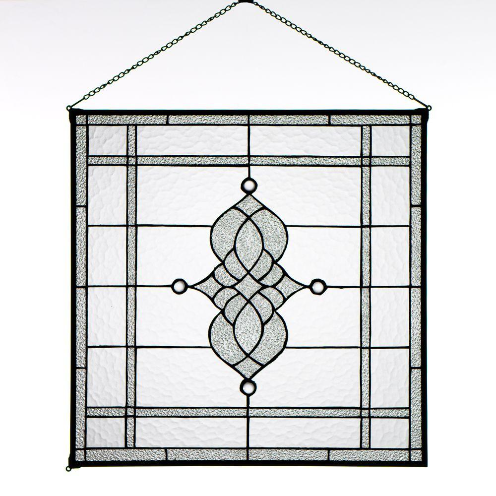 Home Decorators Collection 24 in. W Jansen Clear Square Art Glass
