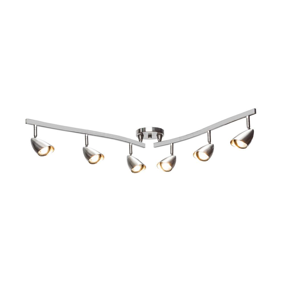 Globe Electric Grayson 6 Light Brushed Steel Adjule Track Lighting Kit