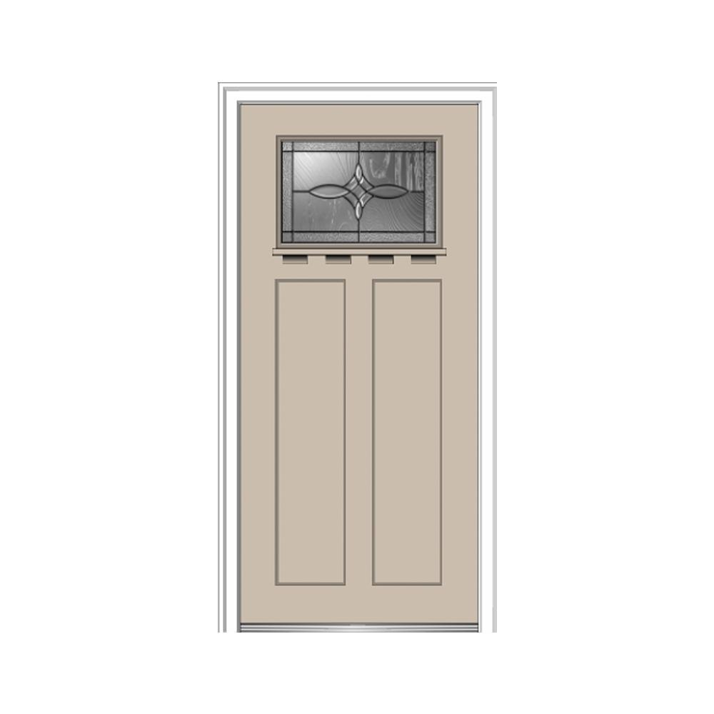 36 in. x 80 in. Lenora Left-Hand 1-Lite Decorative Craftsman Painted