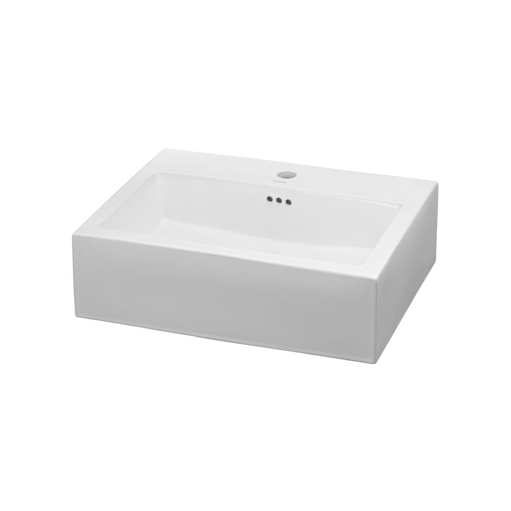 Ronbow Essentials Groove Vessel Sink In White 200212 1 WH   The Home Depot