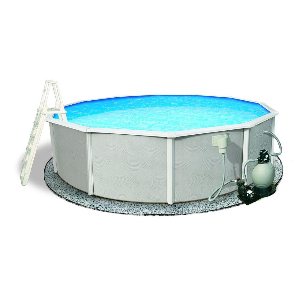 Blue Wave Belize 24 ft. Round 52 in. Deep 6 in. Top Rail Metal Wall Swimming Pool Package