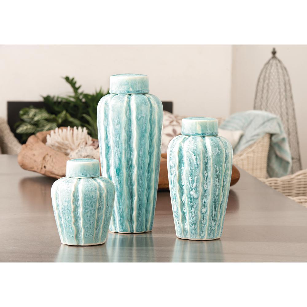 Ripples 16 in., 12 in. and 8 in. Ceramic in Seaspray Finish Decorative Jars (Set of 3)