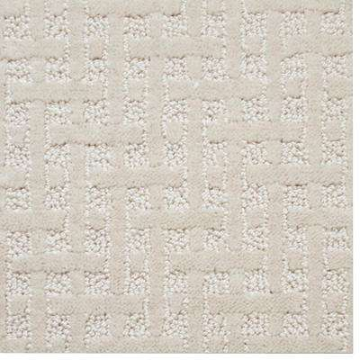 Carpet Sample - Woodruff - Color Ballet White Pattern 8 in. x 8 in.