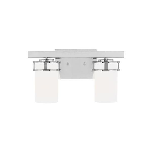 Robie 14.625 in. 2-Light Chrome Vanity Light with Etched White Inside Glass Shades