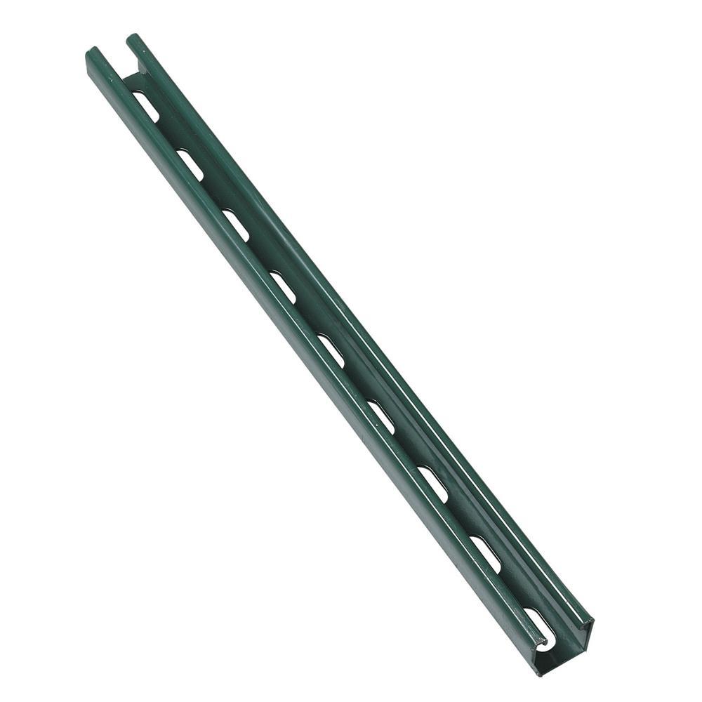 10 ft. 14-Gauge Half Slotted Metal Framing Strut Channel - Green Urethane Powder Coated