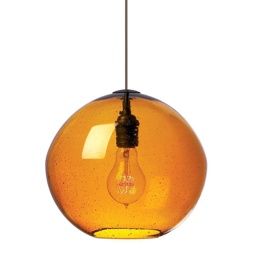 LBL Lighting Isla 1-Light Satin Nickel Pendant with Amber Shade