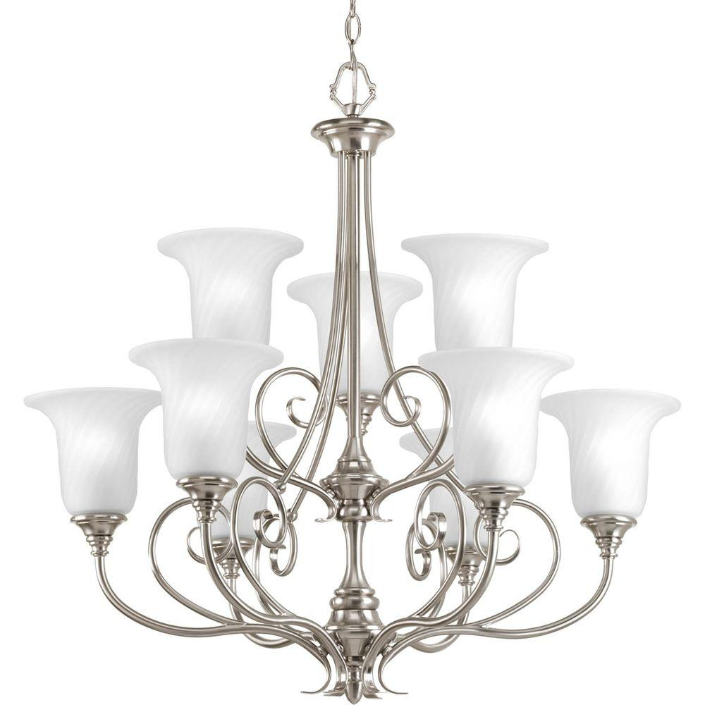 Progress Lighting Kensington Collection 9-Light Brushed Nickel Chandelier with Swirled Etched Glass Shade