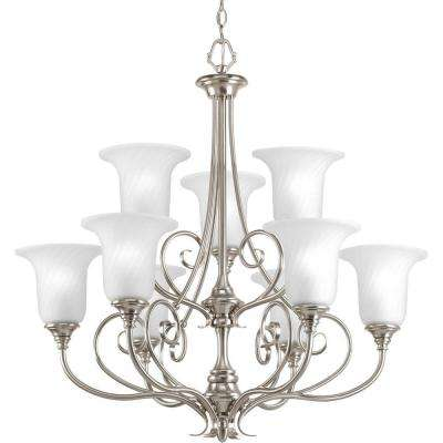 Kensington Collection 9-Light Brushed Nickel Chandelier with Swirled Etched Glass Shade