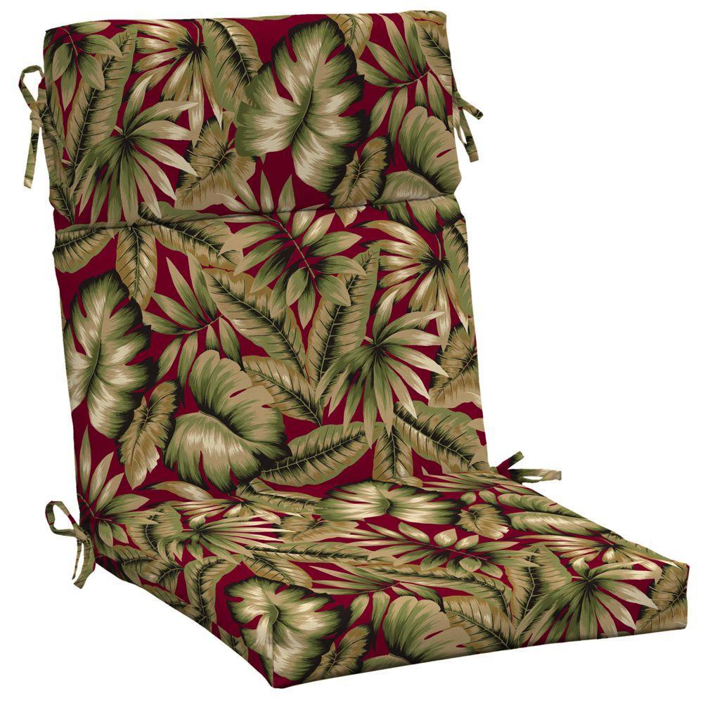 Hampton Bay Chili Tropical High Back Outdoor Chair Cushion