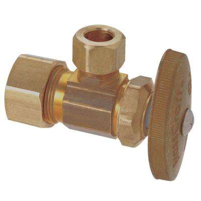 1/2 in. Nominal Compression Inlet x 3/8 in. O.D. Compression Outlet Brass Multi-Turn Angle Valve (5-Pack)