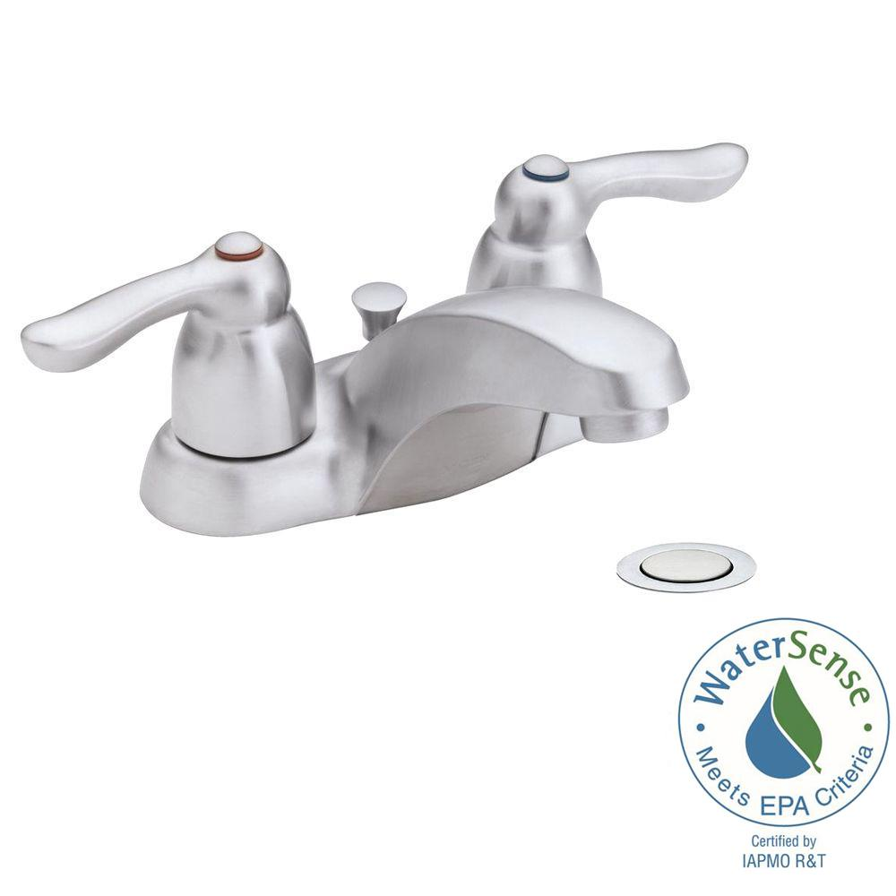 MOEN Chateau 4 in. 2-Handle Low-Arc Bathroom Faucet in Brushed Chrome with Drain Assembly