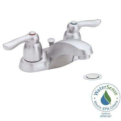 Chateau 4 in. 2-Handle Low-Arc Bathroom Faucet in Brushed Chrome with Drain Assembly