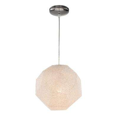 1-Light Polished Chrome Interior Pendant with Crushed Acrylic Shade