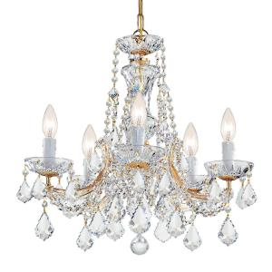 Maria Theresa 5-Light Clear Crystal Gold Mini Chandelier