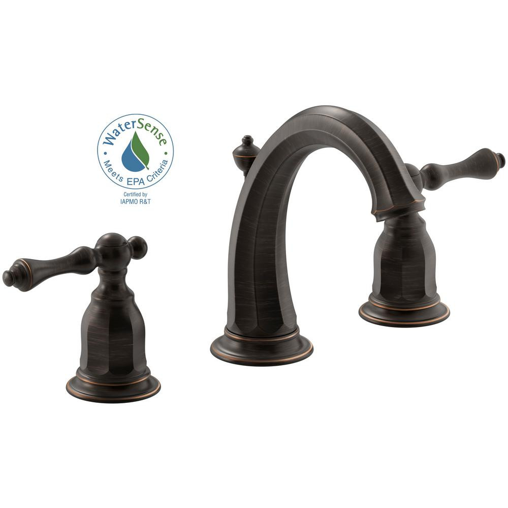 KOHLER Kelston 8 In. Widespread 2 Handle Water Saving Bathroom Faucet In Oil