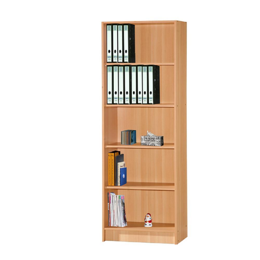 HODEDAH 5-Shelf, 72 in. H Beech Bookcase