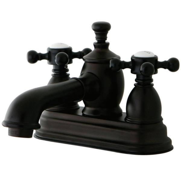 Kingston Brass English Country 4 In Centerset 2 Handle Bathroom Faucet In Oil Rubbed Bronze Hks7005bx The Home Depot