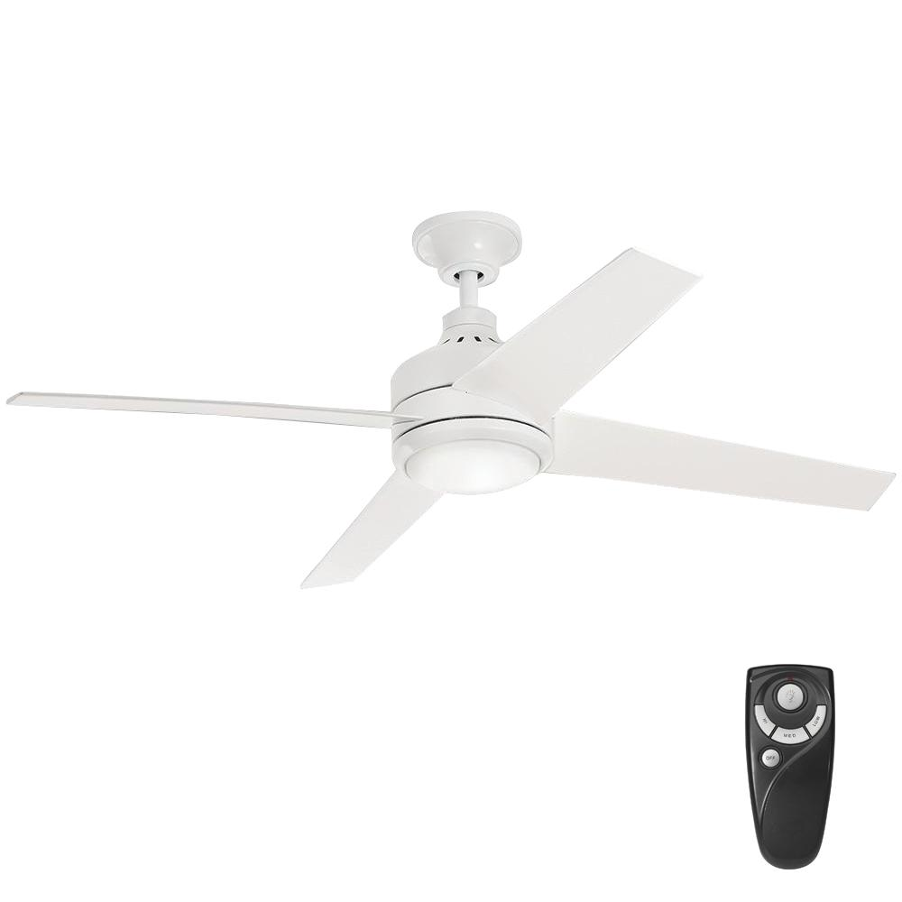 Home Decorators Collection Mercer 52 In Integrated Led Indoor White Ceiling Fan With Light Kit