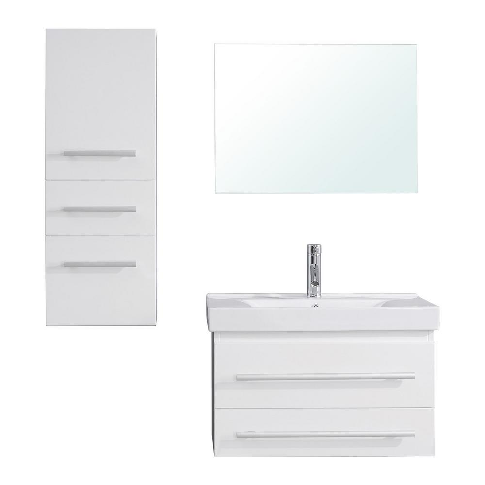 Virtu USA Antonio 30 in. W Bath Vanity in White with Ceramic Vanity Top in White Ceramic with Square Basin and Mirror and Faucet