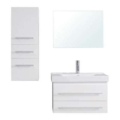 Antonio 30 in. W Bath Vanity in White with Ceramic Vanity Top in White Ceramic with Square Basin and Mirror and Faucet