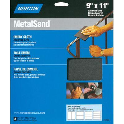 Norton MetalSand 9 in. x 11 in. F/M/C-Grit Emery Cloth Set (3-Pack)