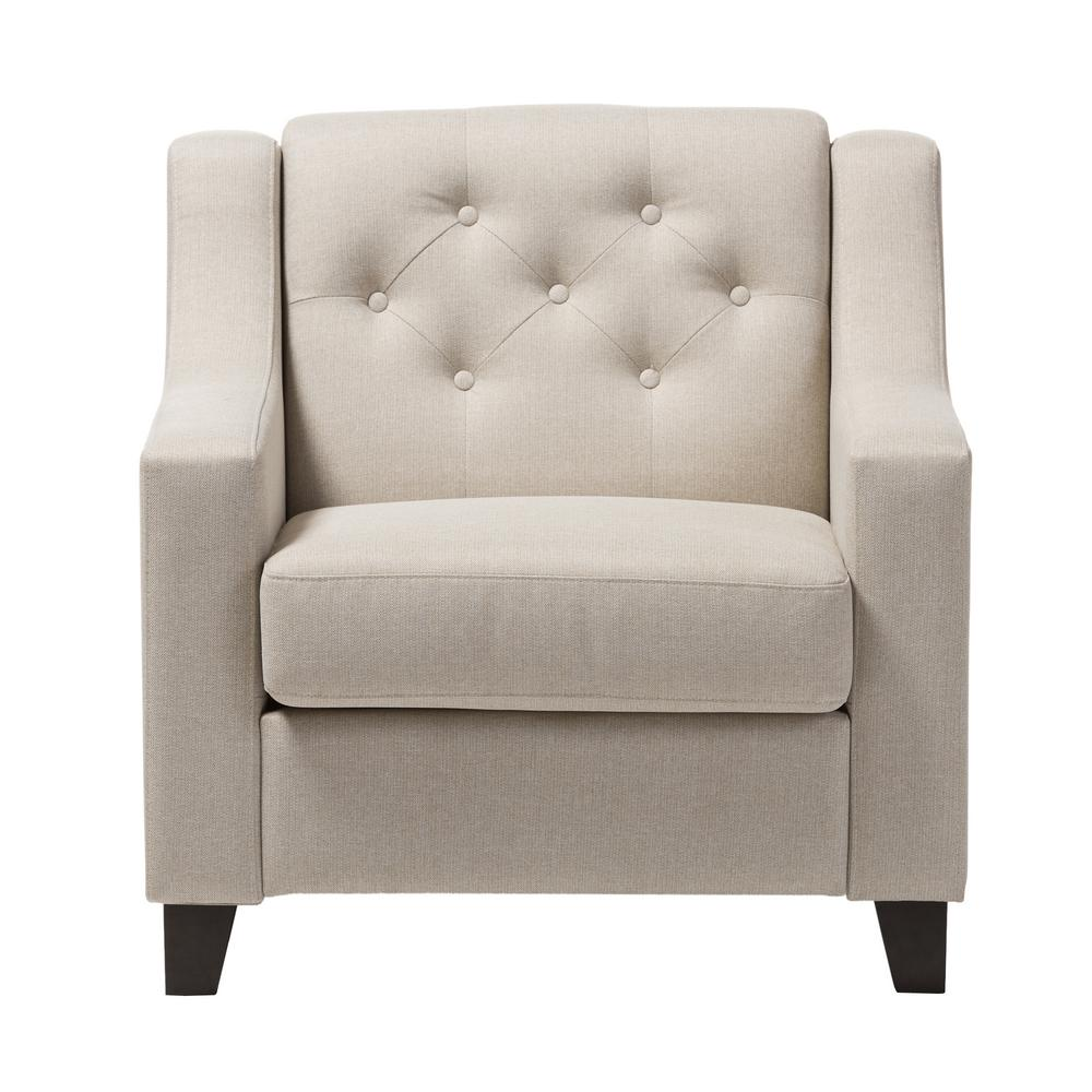 Baxton studio arcadia contemporary beige fabric upholstered accent chair