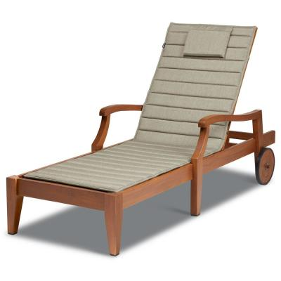 Storigami FadeSafe 21 in. x 72 in. Outdoor Chaise Lounge Cushion in Heather Grey