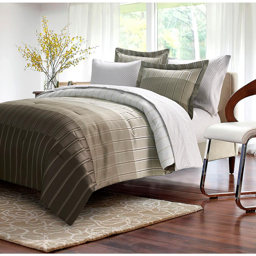 Brown Grey Ombre Stripe 8 Piece Taupe Full Bed In Bag Set