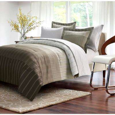 Ombre Stripe 8-Piece Taupe King Bed-In-Bag Set