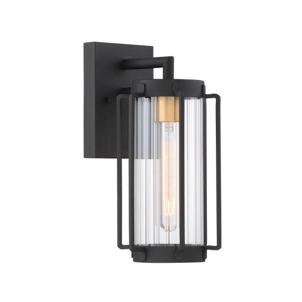 Avonlea Small 1-Light Sand Black with Gold Outdoor Light Wall Lantern Sconce