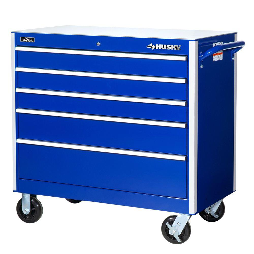 Heavy Duty 42 in. 5-Drawer Cabinet Tool Chest, Blue