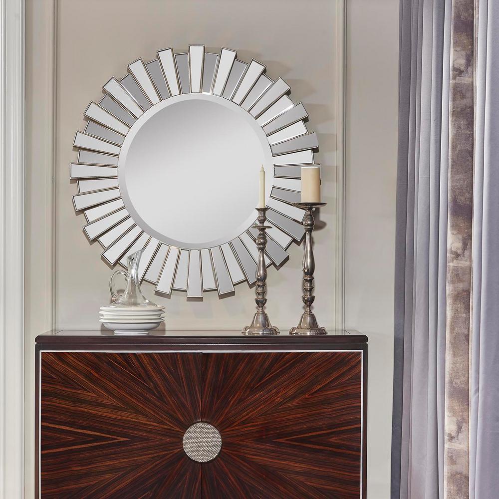 40in. W Sola Sunburst Accent Wall Mirror, Silver