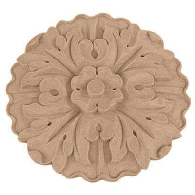 1-1/8 in. x 9-1/4 in. x 9-1/4 in. Unfinished Wood Cherry Large Kent Floral Rosette