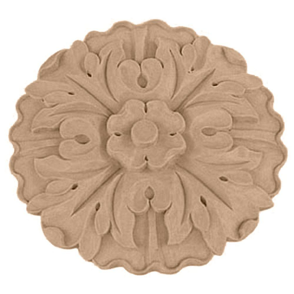 Ekena Millwork 9-1/4 in. x 1-1/8 in. x 9-1/4 in. Unfinished Wood Lindenwood Large Kent Floral Rosette