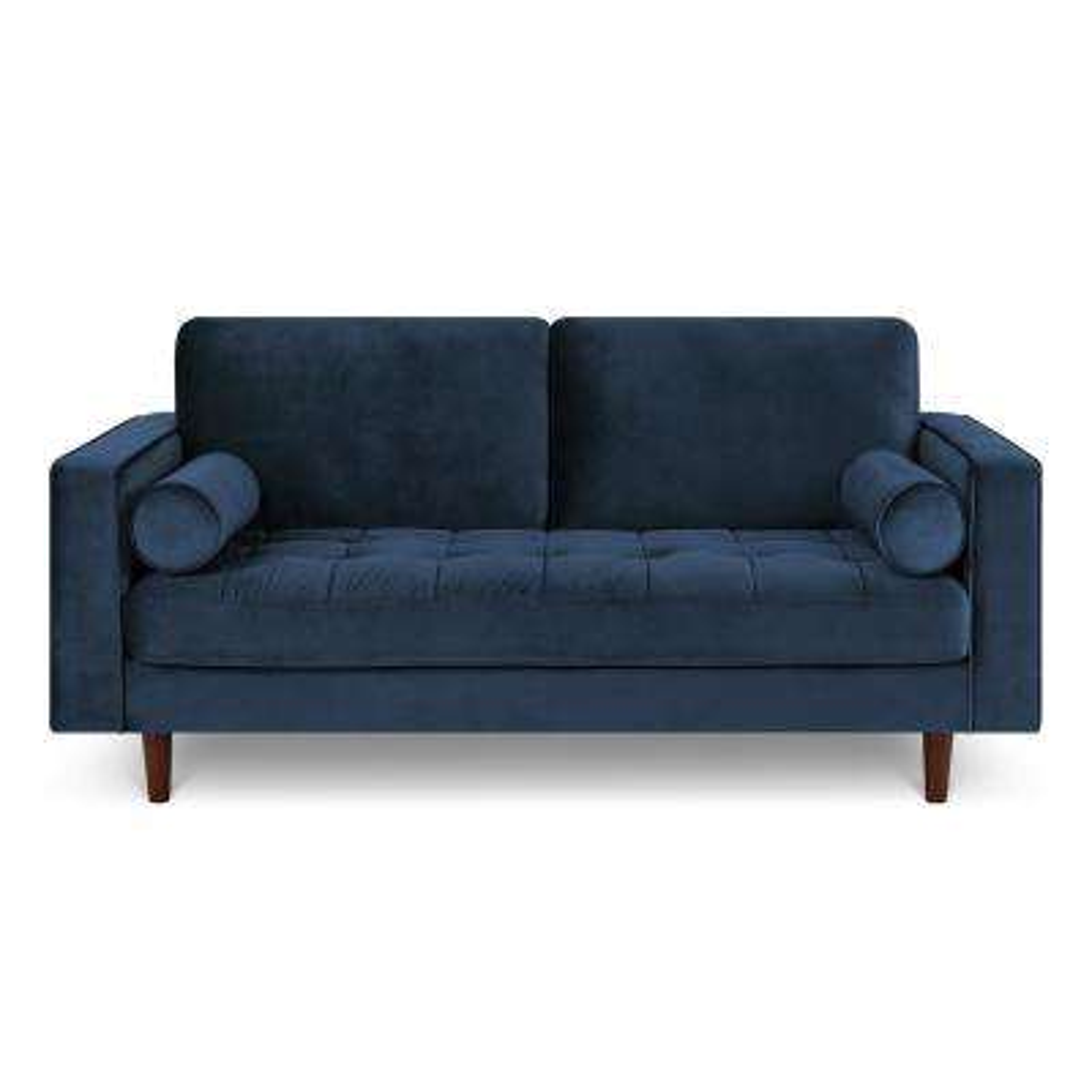 72 in. Inga Space Blue Apartment Velvet Sofa