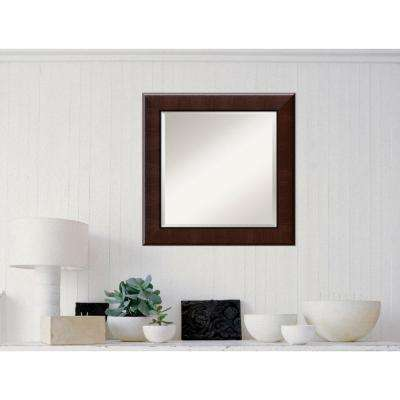 Dark Umber Wood 26 in. W x 26 in. H Traditional Framed Mirror