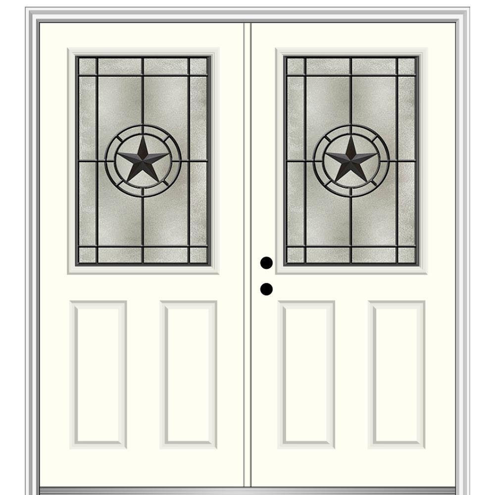 Mmi Door Elegant Star 64 In X 80 In Right Hand 1 2 Lite Decorative Glass Alabaster Painted Fiberglass Prehung Front Door Z03745407r The Home Depot