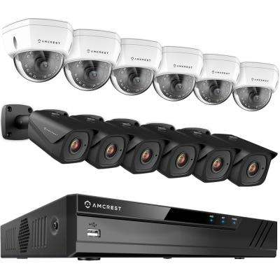 Plug & Play H.265 16-Channel 4K NVR 8MP 4TB Surveillance System with 6 Wired POE Dome and 6 Bullet 98 ft. Night Vision