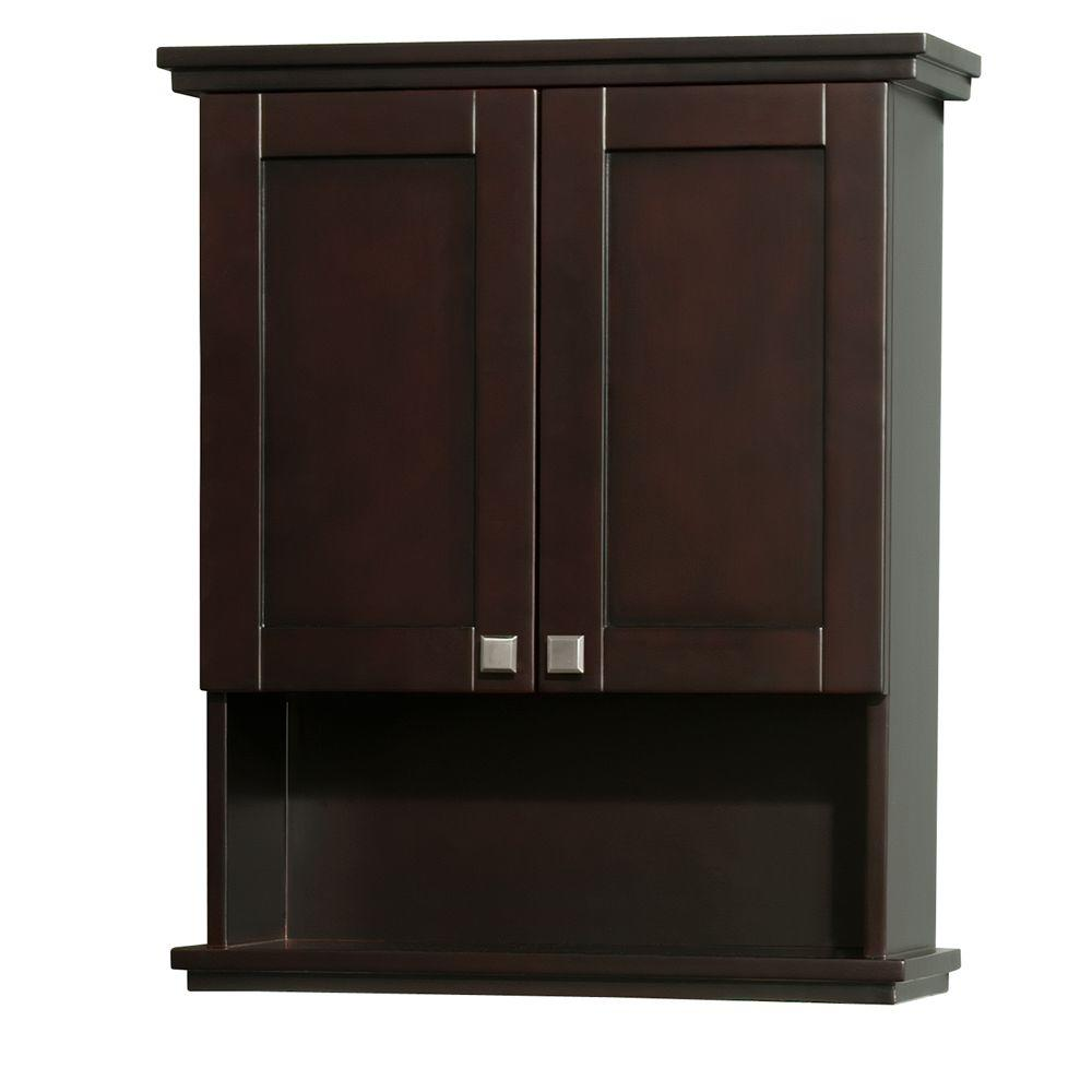 bathroom wall cabinets espresso wyndham collection acclaim 25 in w x 30 in h x 9 1 8 in 17101