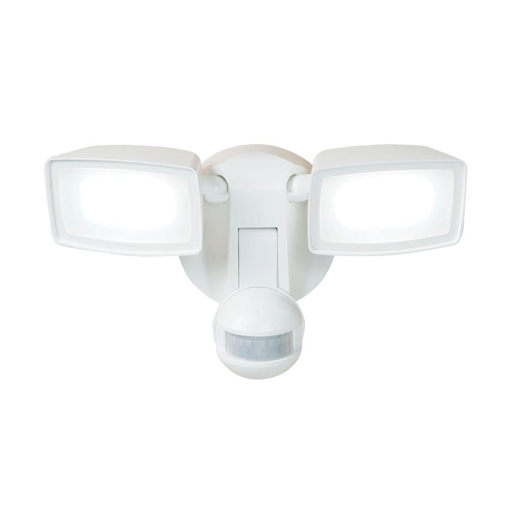 180-Degree White Dual-Position Motion Activated Sensor Outdoor Integrated LED