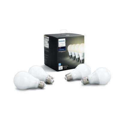 60W Equivalent Soft White A19 Hue Connected Home LED Light Bulb (4-Pack)