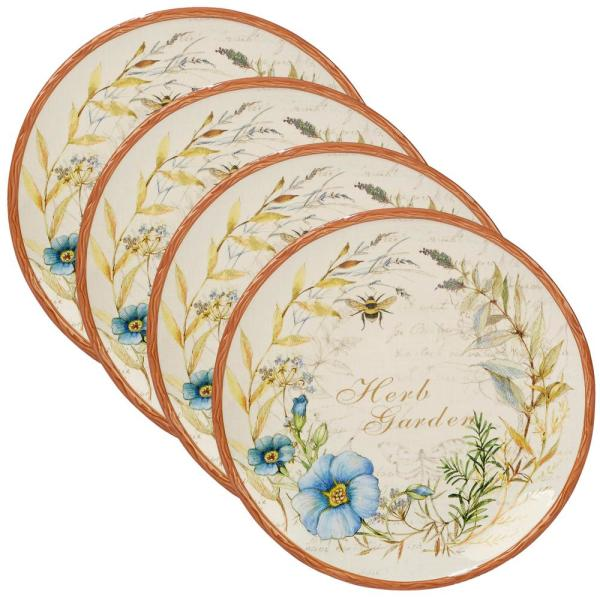 Certified International Herb Blossoms 4-Piece Multi-Colored 11 in. Dinner Plate