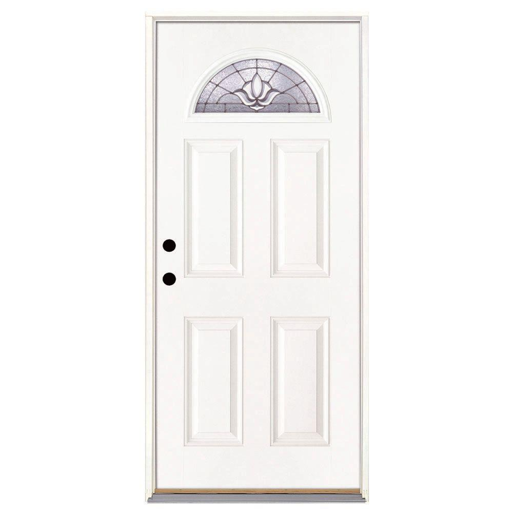 Feather River Doors 37.5 in. x 81.625 in. Medina Zinc Fan Lite Unfinished Smooth Right-Hand Inswing Fiberglass Prehung Front Door