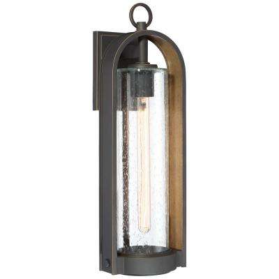 Kamstra 1-Light Oil Rubbed Bronze with Gold Highlights Outdoor Wall Lantern Sconce