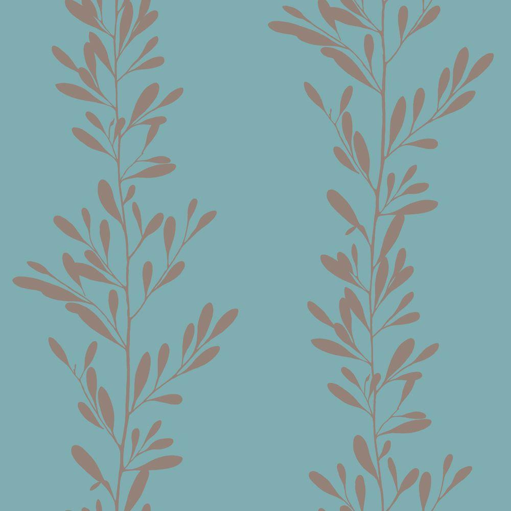 The Wallpaper Company 56 sq. ft. Blue and Brown Modern Leaf Stripe Wallpaper
