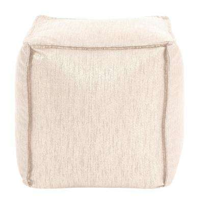Glam Snow Metallic Gold Square Pouf Ottoman