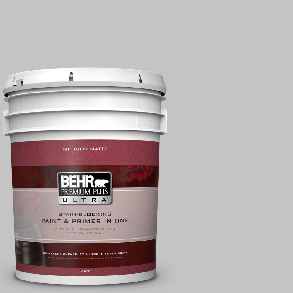 BEHR Premium Plus Ultra 5 Gal. #N520 2 Silver Bullet Matte Interior Paint