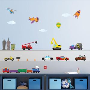 My Wonderful Walls Car Truck And Train Multi Peel And Stick Removable Wall Decals Transportation Theme Mural 27 Piece Set 1242 17 The Home Depot