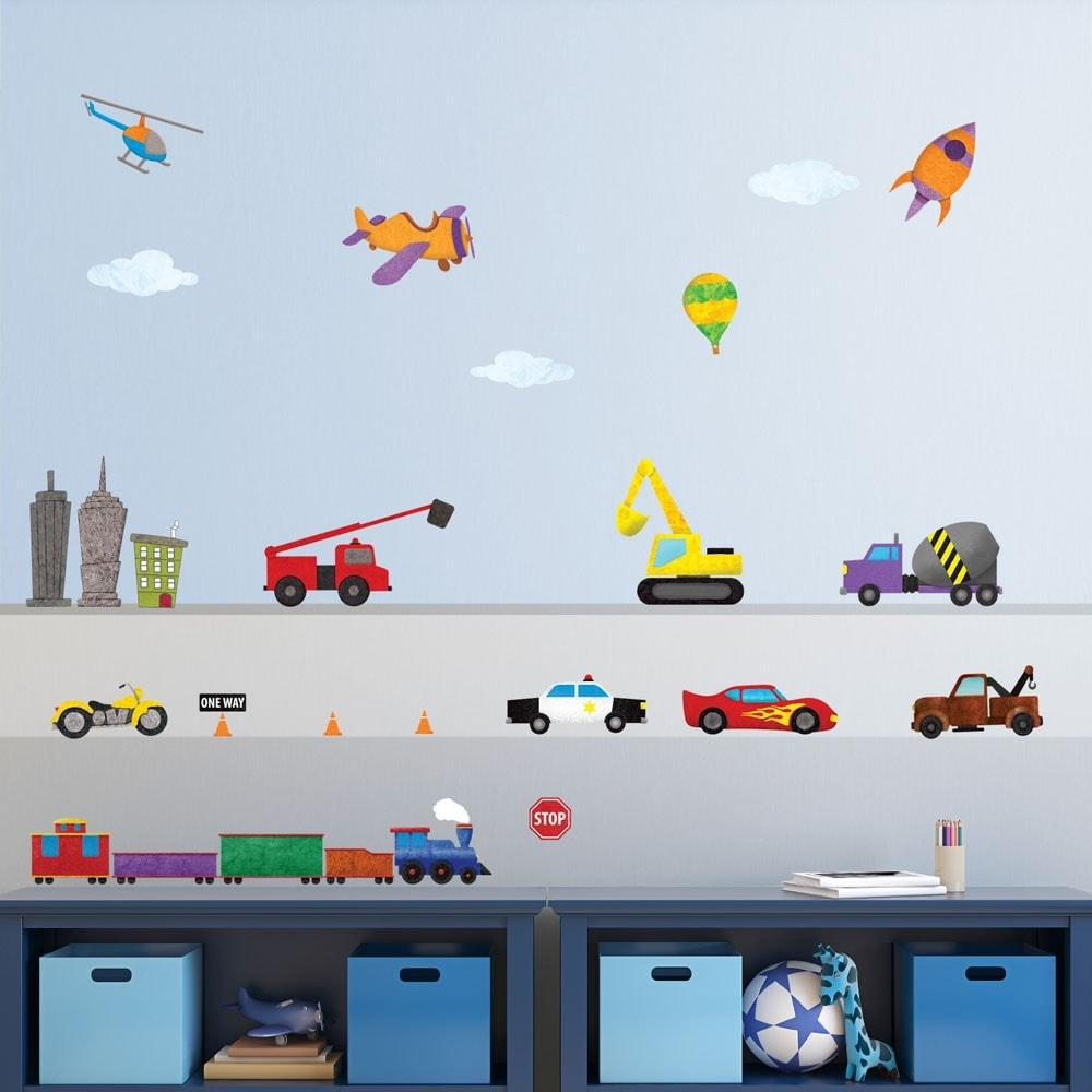 Car, Truck And Train Multi Peel And Stick Removable Wall Decals  Transportation Theme Mural (